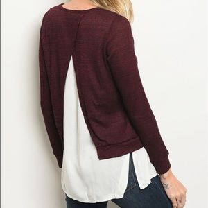 Sweaters - Burgundy White Split Back Pullover Sweater